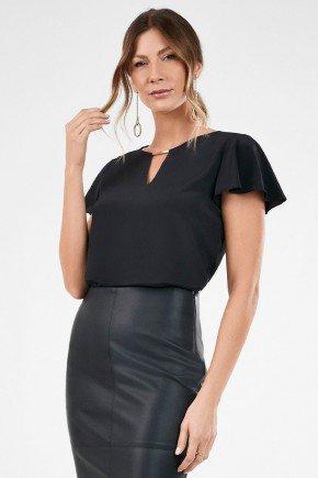 blusa feminina preta manga evase orlanda frente