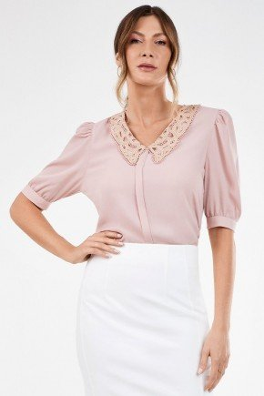 blusa feminina com golarendada perola