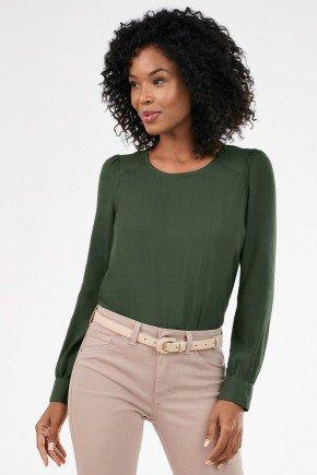blusa verde militar com manga bufante nadine lookbook frente slim