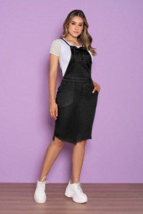 salopete jeans black recorte assimetrico na barra