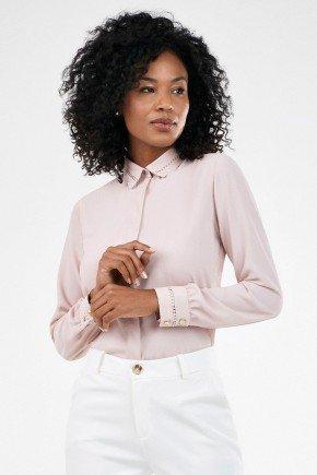 camisa rose feminina com renda olimpia frente