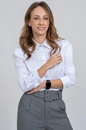 camisa feminina monograma branca mariana