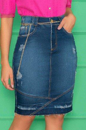 saia jeans barra desfiada cinto de corrente nitido jeans 3