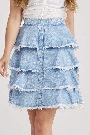 saia jeans com babados botoes frontais melissa challot hadock 4