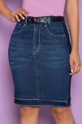 saia jeans com cinto detalhe na barra nitido jeans 5