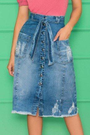 saia jeans botoes e bolsos frontais nitido jeans 3