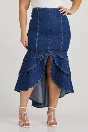 saia jeans escuro babado assimetrico greice challot hadock 8