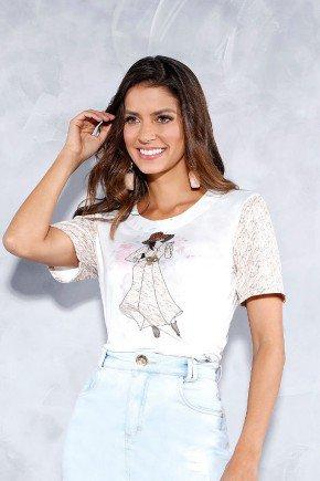 t shirt feminina estampada em malha titanium jeans cima