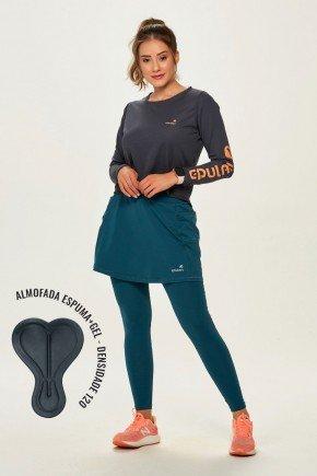 saia calca comprida ciclista com almofada feminina alta compressao azul petroleo epulari2