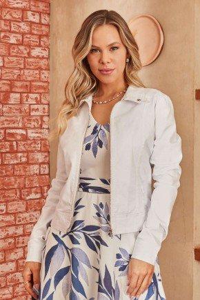 jaqueta jeans branca ziper metalico via tolentino 7