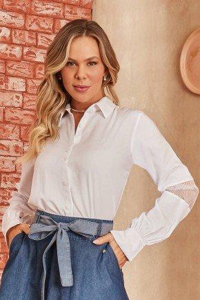 camisa branca mangas longas com telinha via tolentino