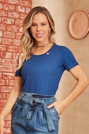 blusa azul malha canelada mangas curtas via tolentino 4
