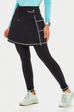 saia calca comprida preta poliamida com linha branca moda fitness modesta epulari 8
