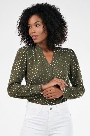 camisa feminina manga bufante de poa narcisa 1