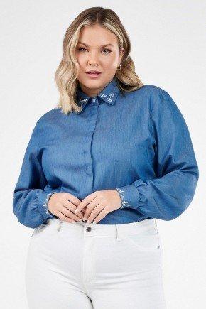 camisa feminina jeans com bordado neide1