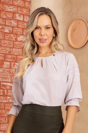 blusa feminina mangas com pregas estampada via tolentino