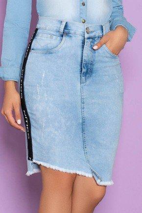 saia jeans recorte na barra faixa lateral nitido jeans 7
