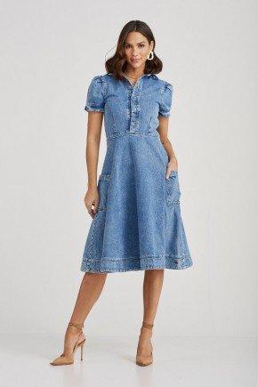 vestido denim manga curta bolsos frontais melinda challot hadock 6