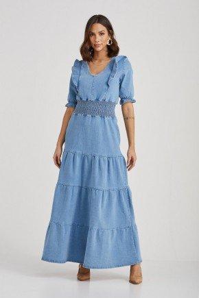 vestido jeans tres marias detalhe em elastico debora challot hadock 6