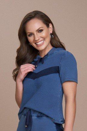 blusa malha denim com capuz titanium jeans cima