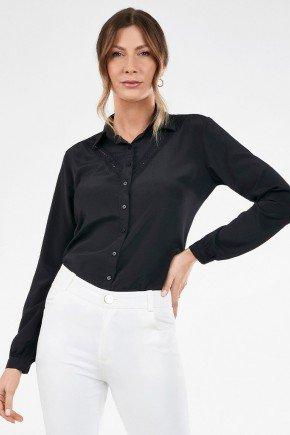 camisa manga longa feminina preta com renda pedrita frente copia