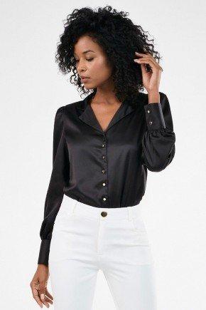 camisa feminina preta gola blazer otilia frente