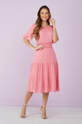 vestido evase com babados rosa claro tata martello 1
