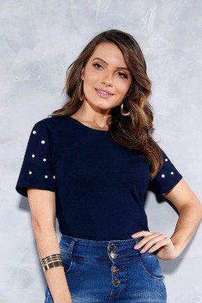 blusa azul marinho perolas nas mangas titanium jeans cima