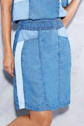 saia evase recortes laterais titanium jeans baixo