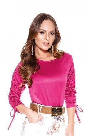 blusa pink mangas 3 4 com amarracao titanium jeans cima