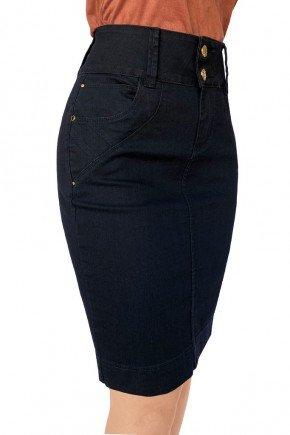 saia preta jeans reta recortes frontais dyork jeans 7