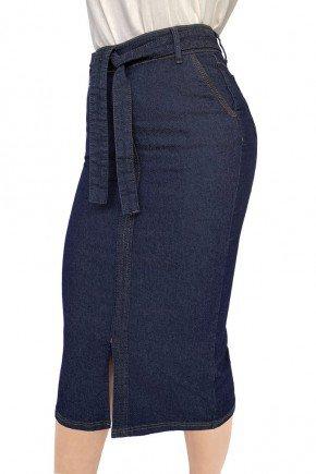 saia jeans midi reta com cinto de amarracao dyork jeans 7