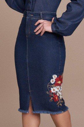 saia jeans bordado lateral titanium jeans baixo