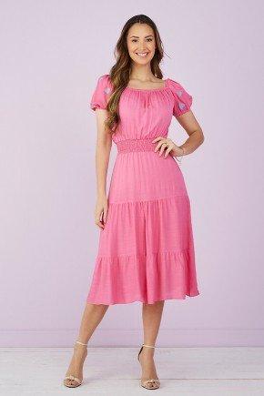 vestido pink evase mangas coracao 1