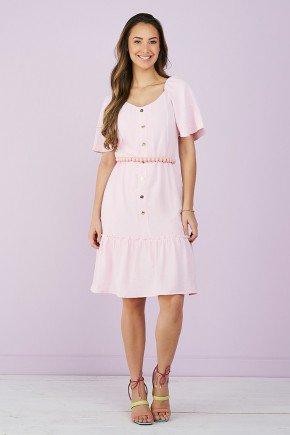 vestido evase rosa botoes frontais 6