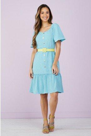 vestido evase azul botoes frontais 1
