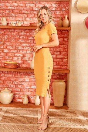 vestido midi malha canelada amarelo via tolentino 6