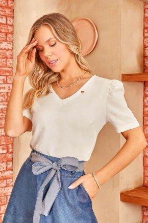 blusa off white decote v manga leve bufante via tolentino 1