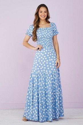 vestido longo azul poas 5