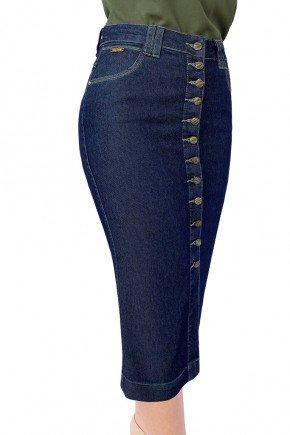 saia jeans midi botoes frontais reta dyork jeans 7