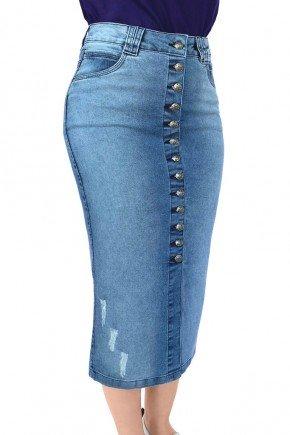 saia feminina jeans midi botoes frontais dyork jeans 5