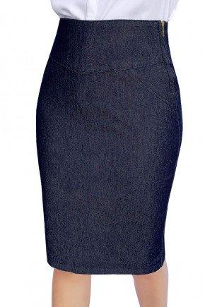 saia lapis jeans azul marinho dyork jeans 5