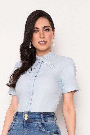 blusa jeans gola laco diferenciada laura rosa cima