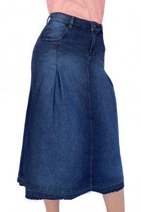 saia feminina jeans midi evase com pregas dyork jeans 3