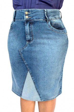 saia feminina jeans recorte frontal avesso dyork jeans 6