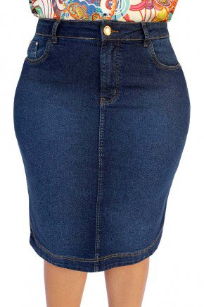 saia jeans reta plus size escura dyork jeans 6