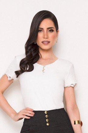 blusa branca em crepe laura rosa cima