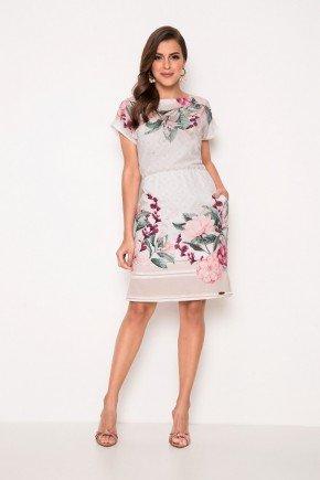 vestido estampado em crepe com bolsos laura rosa