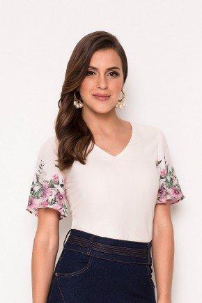 blusa off white manga estampada laura rosa cima