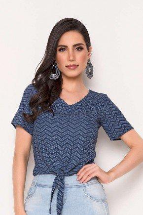 blusa azul escuro estampada com amarracao laura rosa cima